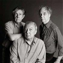 Jasper Johns with composer John Cage and choreographer Merce Cunningham.