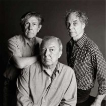Jasper Johns with composer John Cage and choreographer Merce Cunningham.
