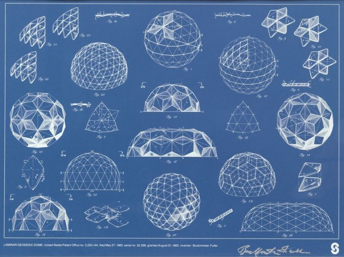 Buckminster Fuller's studies of a geodesic dome