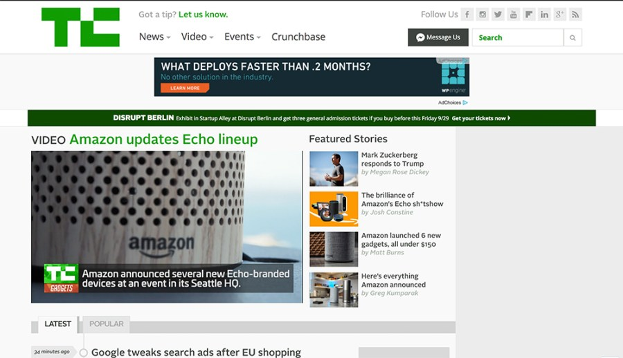 Tech Crunch - Awesome Websites powered by WordPress