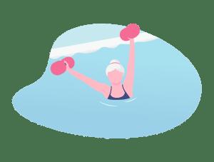 Illustration d'une dame dans un cours d'aquagym