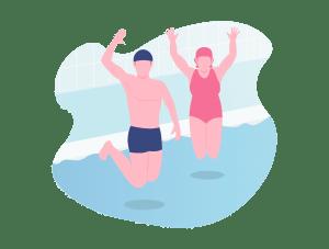 Illustration d'un homme et d'une femme sautant dans un bassin
