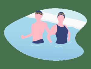 Illustration de deux adultes (homme et femme) debout dans un bassin