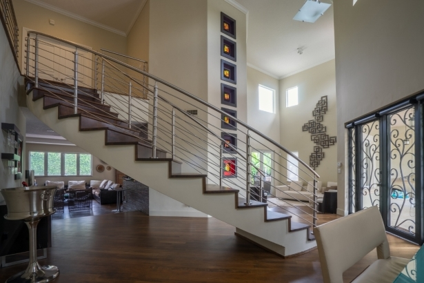 Curved Stainless Steel Rod Railings Bella Stairs Llc Archinect | Stainless Steel Baluster Designs | Balcony Steel Pipe | Catalogue | Ms Boundary Gate | House Staircase Steel Railing | Magandang