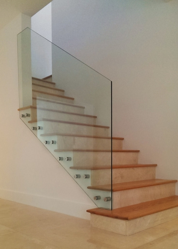 Glass Railing Stainless Steel Standoffs Bella Stairs | Stairs With Glass Sides