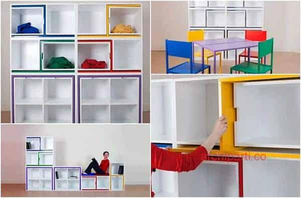 Interior design small apartment dining set bookcase