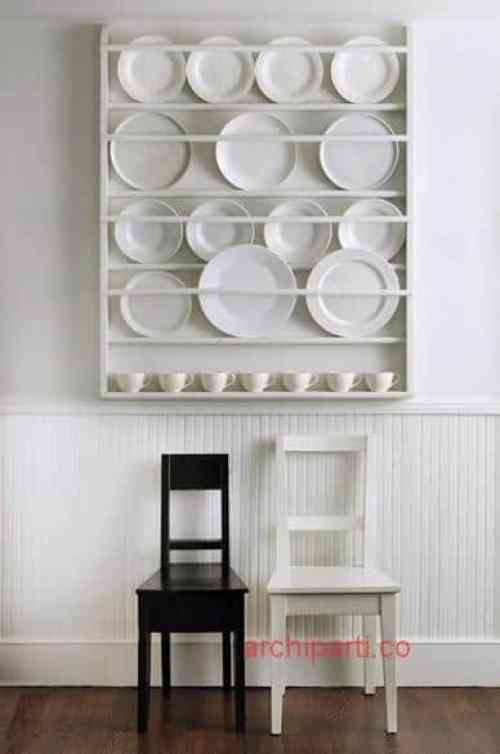 Small apartment design DIY wall plate rack