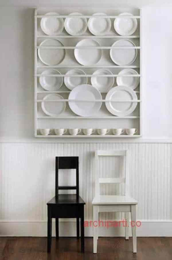Small apartment design DIY wall plate rack