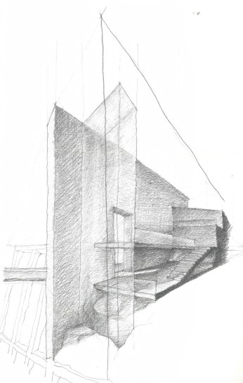 The project has two layers of circulation, a public one which connects the lower ground level with the top ground level and with the elevated public realm of the masterplan through bridging. The sketch shows a possible ending to the top of the public route - the design proposes two concrete fins that echo the lines of the masterplan, suggest the public circulation area and serve as a marker for the project in the area.