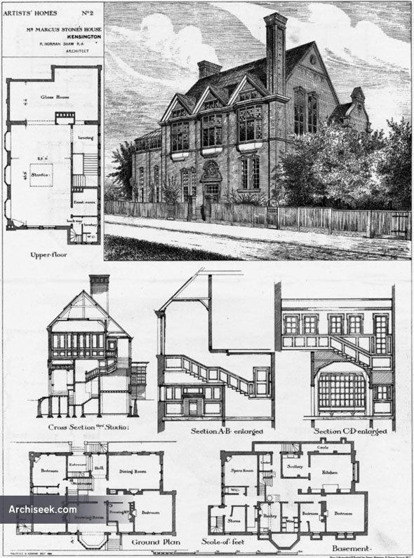 1880 – Marcus Stone's House, 8 Melbury Rd., Kensington ... London Kensington Homes Floor Plans on shop floor plans, london home rentals, london apartments floor plans, london flat floor plans, london home architecture, london home design, london home construction,