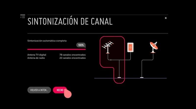 Sintonización de canales (pantallazo)