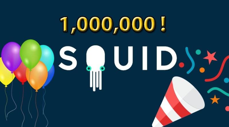 Squidapp logo: 1000000 descargas