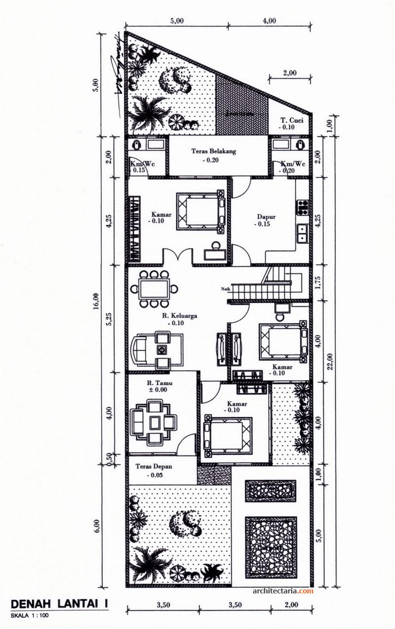 Denah Rumah Minimalis 3 Kamar Tidur 1 Lantai Rumah Minimalispro