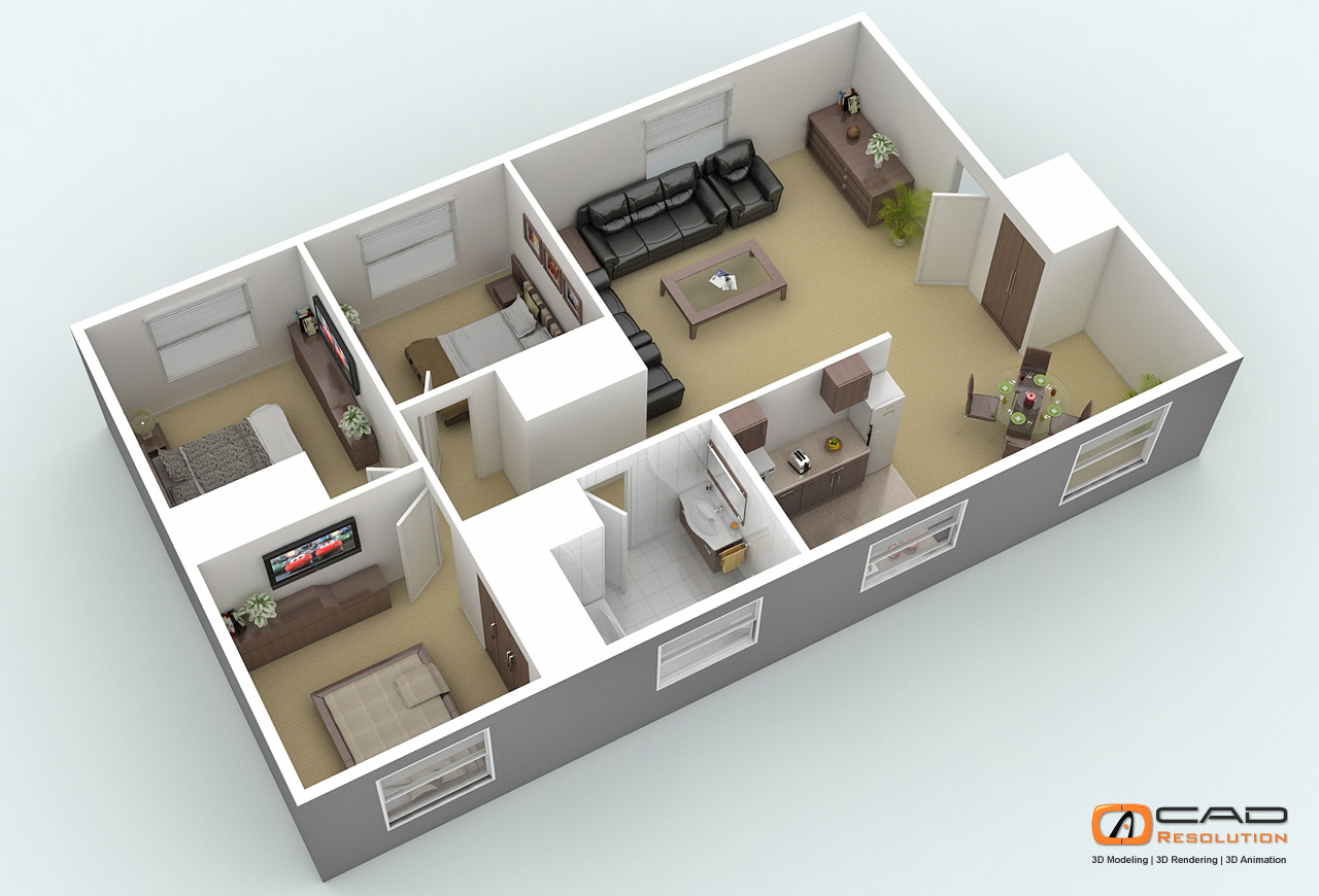 Architectural 3D Floor Plans and 3D House Design Help Architects to     floorplan view 2