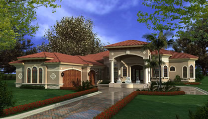 Mediterranean House Plans   Luxury 1 Story Waterfront Home Exquisite Waterfront Mediterranean