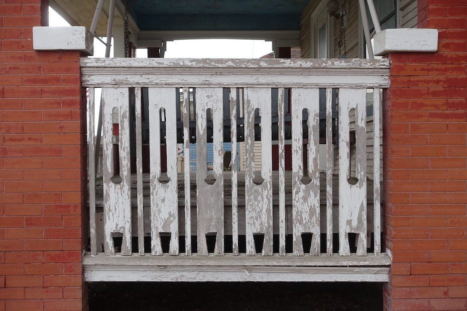 Cut-out balusters.