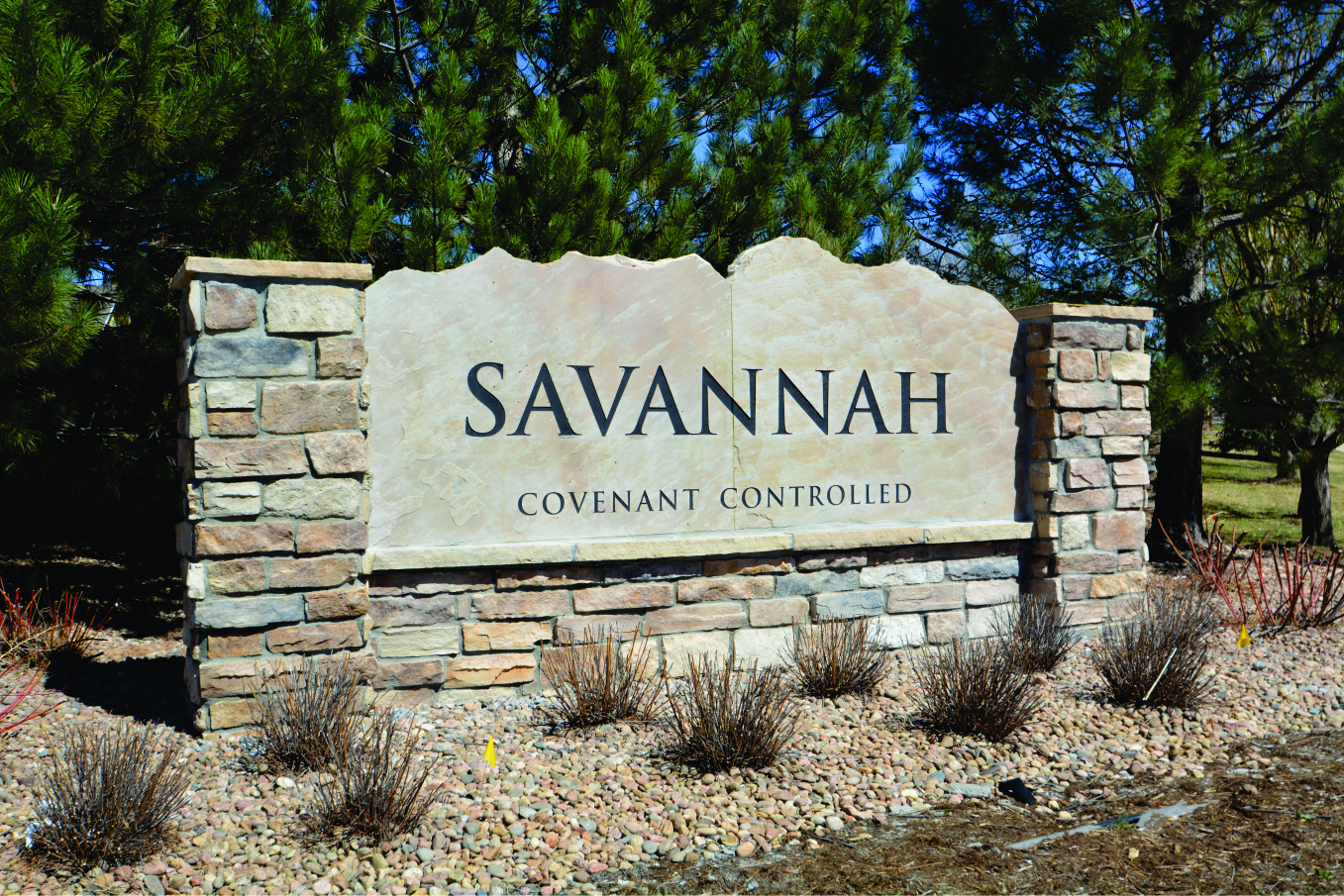 New etched stone monument for savannah hoa architectural for Landscaping rocks savannah ga