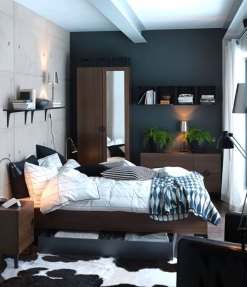 Bedroom Interior Design With Gray Painted