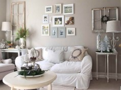 Modern Home Decorating Ideas For Alluring Small Living Room Design Excellent With Light Grey Shades Paint Wall Installed Photos Framed Decorated White Covered
