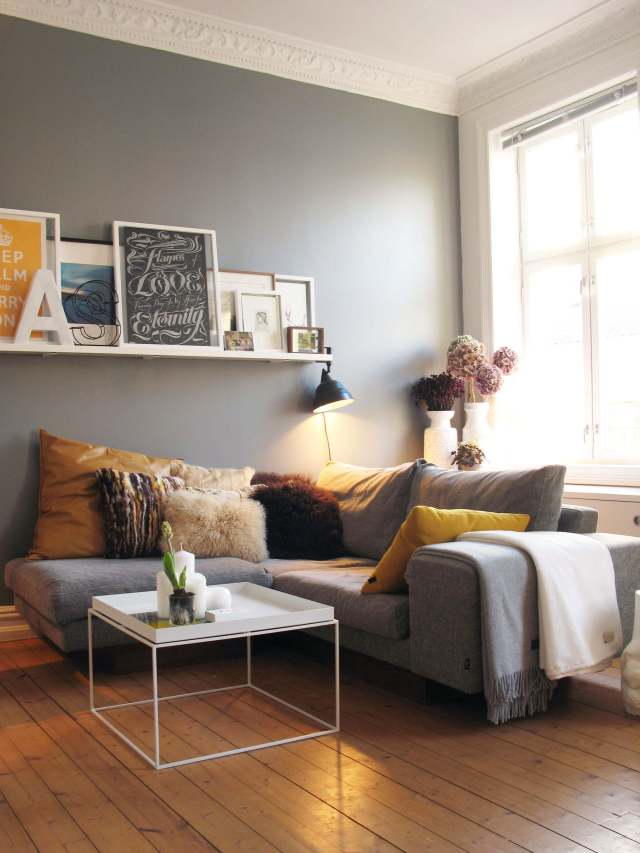 Simple Living Room Wall Storage Ideas Grey Wall