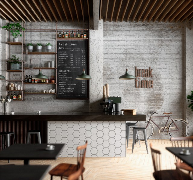Brick Wall For Scandinavian Theme For Cozy Coffee Shop..