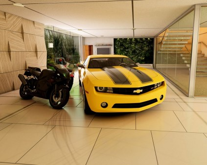 Brilliant Garage Design Ideas For One Car Also Two Motorcycles In Wide Area