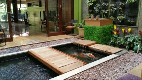 Create Frame and Cover with Wood Plywood on Each Side for Awesome Tips for Placing a Fish Pond in the Family Room