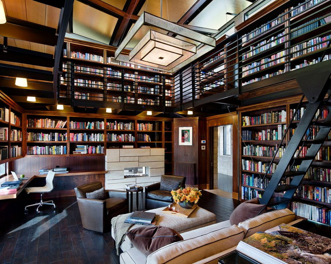Bookshelf as Well as Sofa for Unique Library at Home