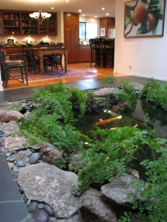 Placing A Fish Pond In The Family Room With Plants