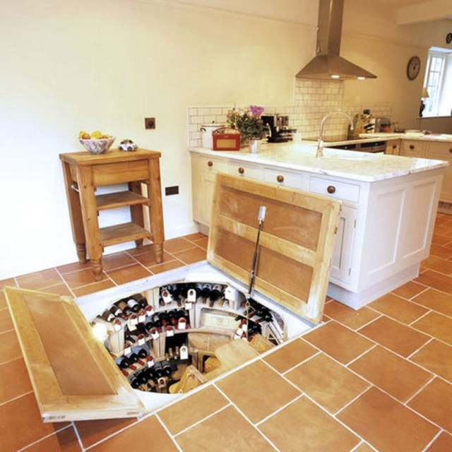 Secret Storage Wine Cellar Under Kitchen Architecture Home Design