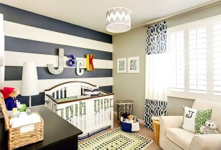 Wall Art Ideas Horizontal Stripes Wall Accents And Pattern To The Stylish Nursery