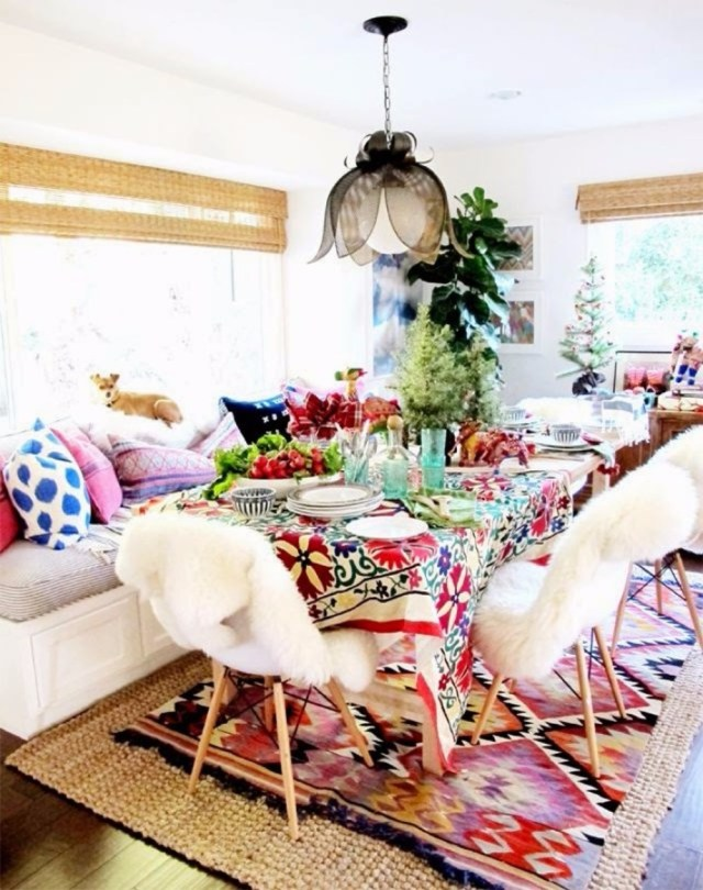 Colorful Cushion for Small Bohemian Style Dining Room Design