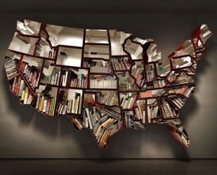 Bookshelf Shaped Country for Unique Library at Home