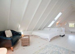 Attic Bedroom With Open Space White Color