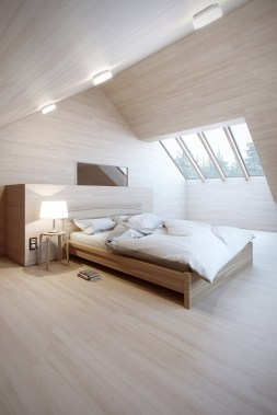 Beautiful Natural Wood Attic Bedroom Natural Light
