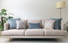 Beige Sofa With Pastel Coloured Cushions