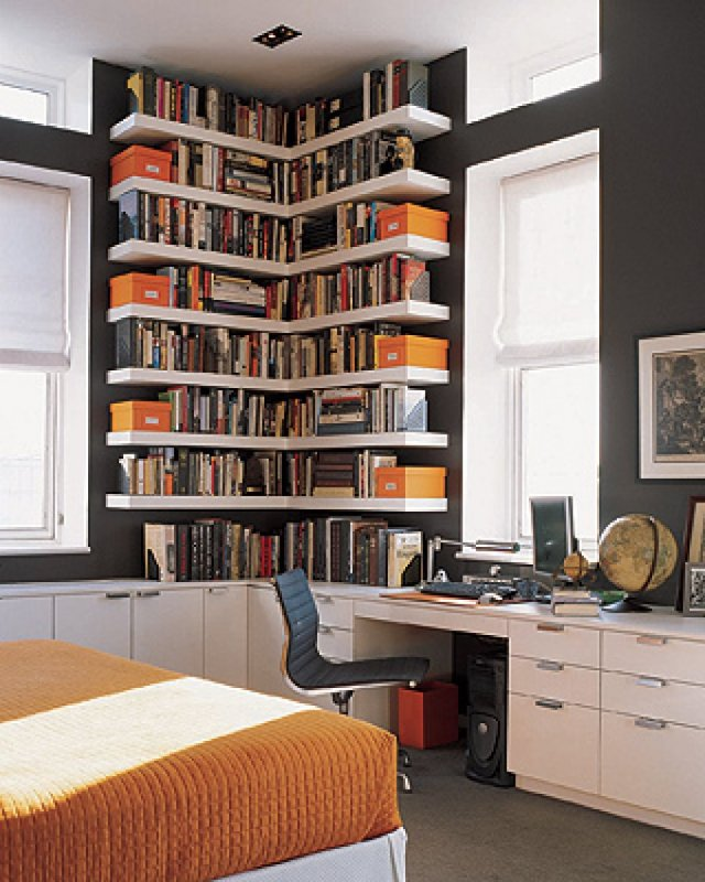 Bookshelf for Utilization of Corner Space in the House