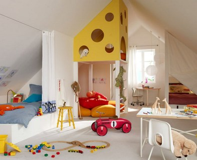 Children's Attic Bedroom With Playroom