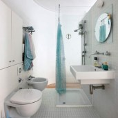 Clothing Hangers for Simple Bathroom Design Without Bathtub