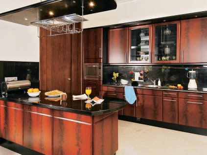 Combined Chocolate With Black Elegant Brown Minimalist Kitchen Decorating Ideas