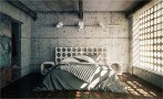 Concrete Wall Industrial Bedroom Decorations