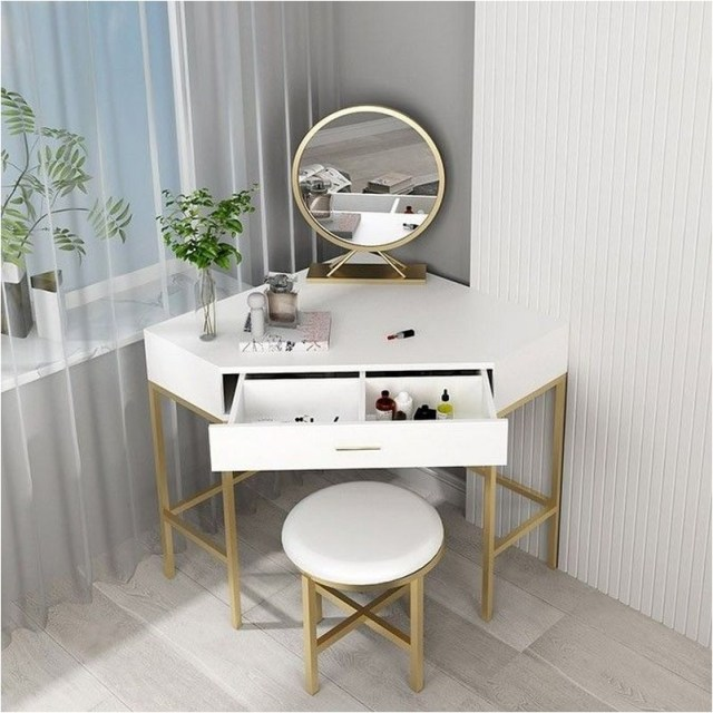 Corner Makeup Vanity With Drawer Modern