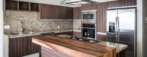 Natural Dark Wood for Elegant Brown Minimalist Kitchen Decorating Ideas
