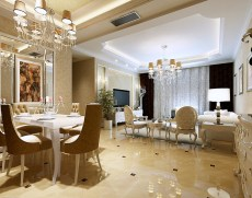 European Luxury Open Concept Dining Room With Bright Lighting Of Two Chandeliers And White Furniture