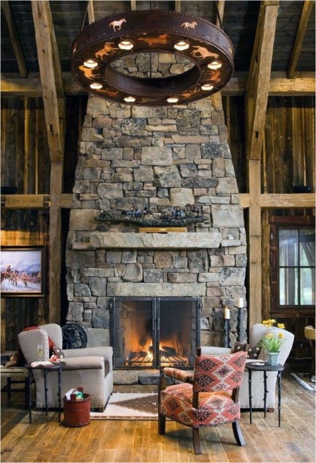 Expose Rock Fireplace In Dark Wood