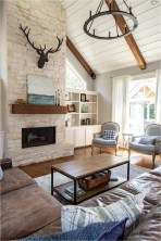 Leather Sofa And Expose Brick Rustic Familly Room