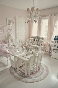 Pink Wall And Curtain For Shabby Chic Bedroom