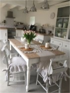 Shabby Chic Dining Room With Linen Chair Cover