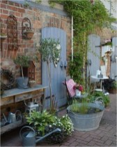 Simple Shabby Chic Garden With Exposed Brick