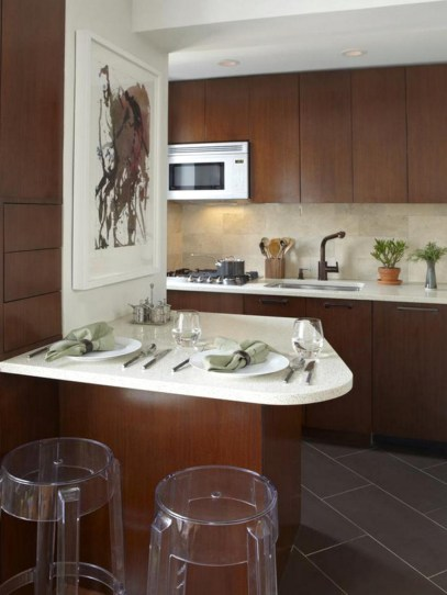 Small Kitchen With Brown Coffee Color Design